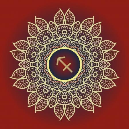 ascendant: zodiac sign The Archer  Sagittarius  zodiac sign on ornate oriental brown mandala pattern
