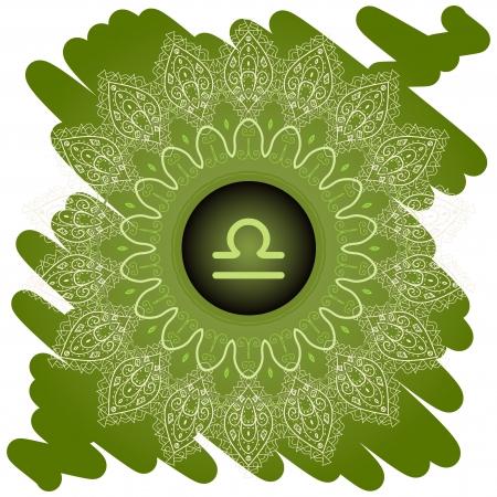 zodiac sign The Scales  Libra  on ornate oriental mandala Green pattern Stock Vector - 19485337