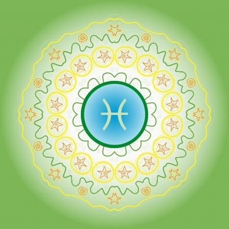 zodiac sign The Fish  Pisces  on ornate Oriental mandala motif pattern Stock Vector - 19485259