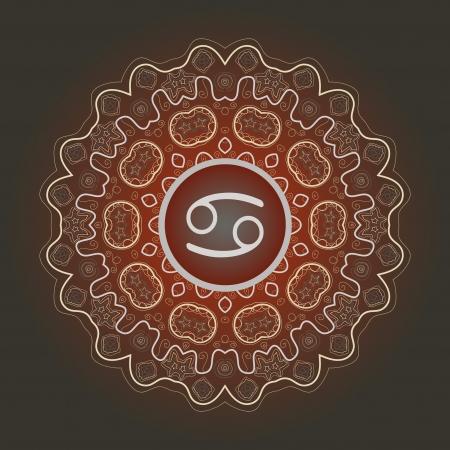 zodiacal sign: El signo del zodiaco c�ncer cangrejo sobre el patr�n de mandala brownoriental