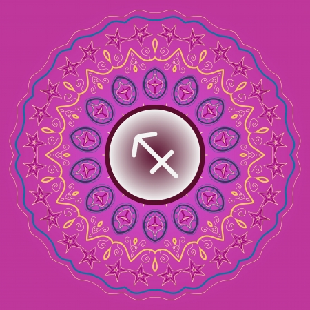 zodiac sign The Archer  Sagittarius  zodiac sign on ornate oriental mandala pink violet pattern Vector