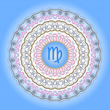 zodiacal sign: signo del zodiaco Virgo la Virgen de adornado oriental mandala patr�n azul