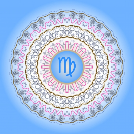 ecliptic: zodiac sign The Virgin  Virgo  on ornate oriental mandala pattern blue