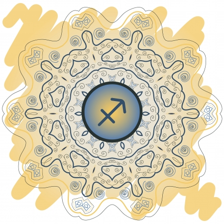 zodiac sign The Archer  Sagittarius  zodiac sign on ornate oriental mandala yellow Vector