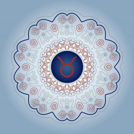 zodiacal sign: signo del zodiaco El signo del zodiaco Tauro Bull adornado con motivos orientales mandala lase gris azul Vectores