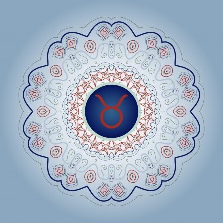 zodiak: zodiac sign The Bull  Taurus  zodiac sign on ornate Oriental mandala motif lase blue gray Illustration
