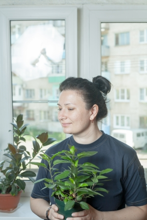 average woman: Woman holding flower pot, indoor houseplant Stock Photo