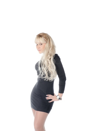 elegant fashionable woman in black dress  attractive blond woman photo