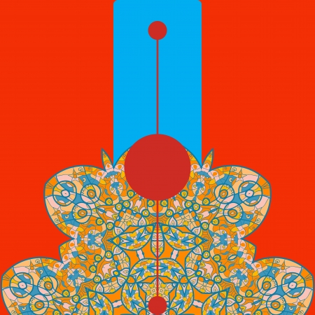 Vintage half of mandala on red with place for your text  eps10 Stock Vector - 20165360