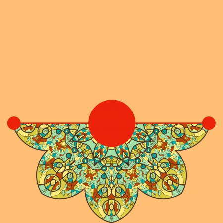 Vintage half of mandala on orange color with place for your text  eps10 Vector