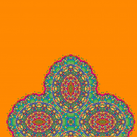 Vintage half of mandala in green tones on orange color  with place for your text  eps10 Stock Vector - 20165548