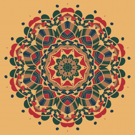 Vintage mandala of orange-red color with place for your text  Vector
