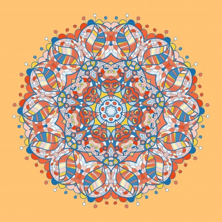 Vintage mandala of orange-red color with place for your text  Stock Vector - 20165522