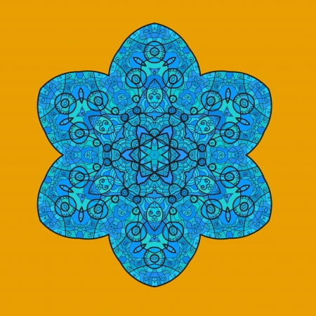 Oriental mandala motif round lase pattern on the yellow background, like snowflake or mehndi paint of orange color  Ethnic backgrounds concept Vector