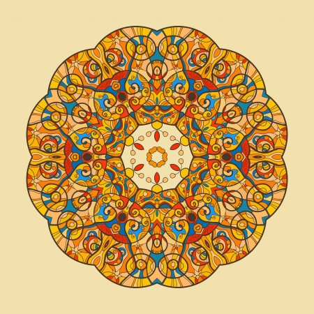Fish  Oriental Yellow mandala motif round lase pattern on the black background, like snowflake or mehndi paint on yellow color background Vector