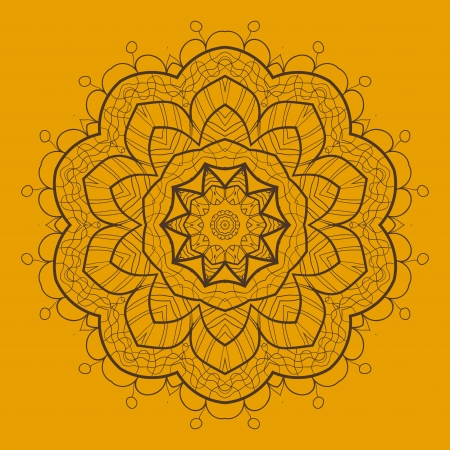 Oriental mandala motif round lase pattern on the yellow background, like snowflake or mehndi paint of orange color  Ethnic backgrounds concept Stock Vector - 20164007