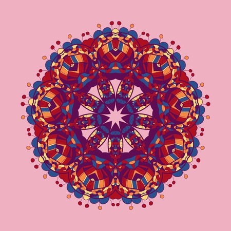 Oriental mandala motif round lase pattern on the violet background, like snowflake or mehndi paint of deep pink color Vector