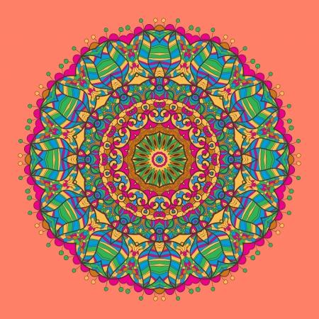Oriental mandala motif round lase pattern on the red or pink background, like snowflake or mehndi paint Vector