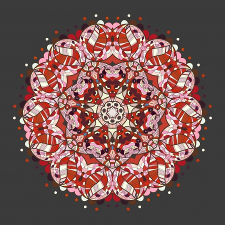 Oriental mandala motif round lase pattern on the gray background, like snowflake or mehndi paint of Red color  Ethnic backgrounds concept Vector