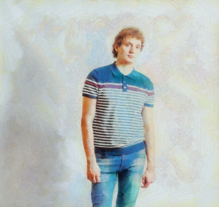 young man jeans: Oil painting Portrait of the young happy smiling man in jeans on a gray background