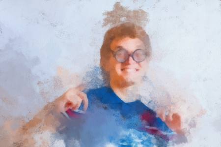 Oil painting Portrait of a man with nerd glasses n studio fun  Head and shoulders shot, gesturing  photo