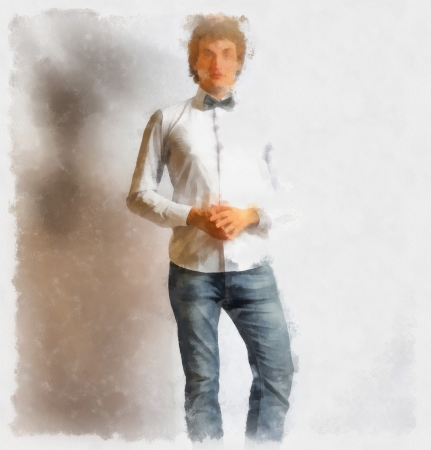 Watercolor painting young fashion male model wearing bow tie  on gray background photo