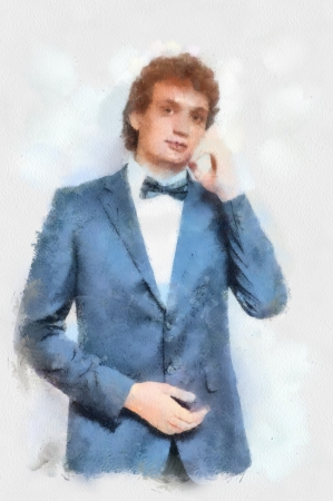 man made structure: Watercolor painting Evening fashion suit  Portrait of handsome man in the black suit with bow tie
