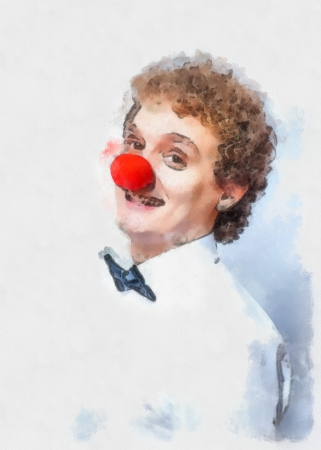 nez de clown: Aquarelle peinture dr�le d'homme avec nez rouge de clown concept de studio de prise de vue ou l'id�e de choses inhabituelles