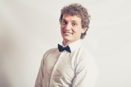 toned image: Toned image Fashionable boy smiling expression