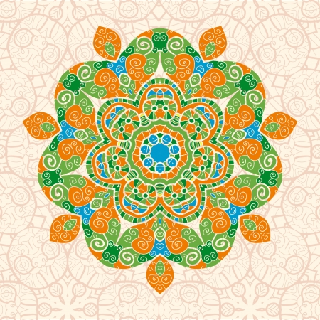 mandala ornament with space for your text. Vector image in green and orange colors Vector
