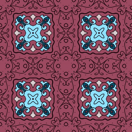 Vector seamless pattern design . Modern stylish texture. Repeating geometric tiles with deep red and light blue colours Stock Vector - 22620771