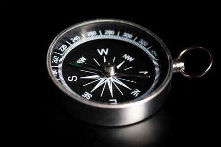 compass on black background photo