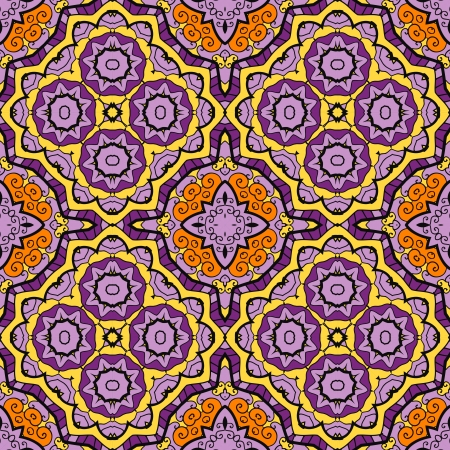 Violet Ornamental round seamless pattern with many details Vector