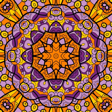 Kaleidoscopic Ornamental round seamless pattern with many details Vector