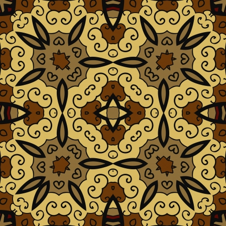 Brown and Yellow Ornamental round seamless pattern with many details Vector