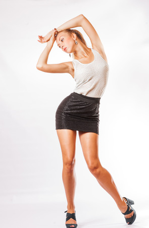 full body shot of the blonde women with long hair studio shot on white background photo