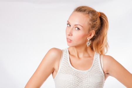 blond women with long hair studio shot on white background photo