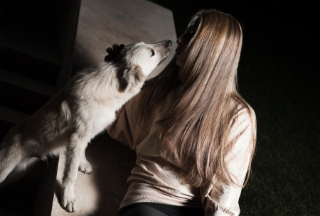 blonde outdoor with dog photo