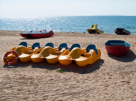 beach boats in summertime photo
