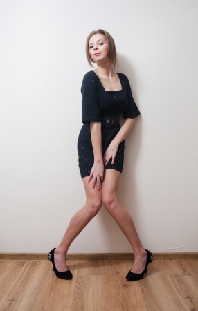 Young blond lady posing, front view  photo