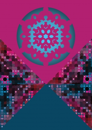 snowflake on pink and blue triangle as frame for text, modern winter card design Vector