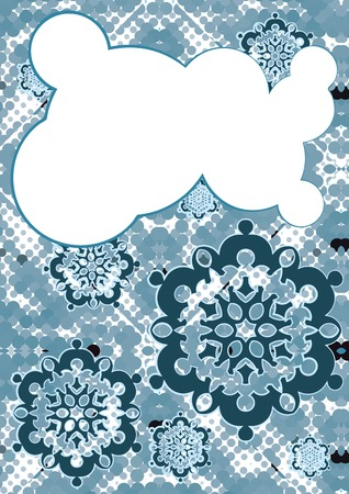falling snow and speech bubble, christmas or winter design Vector