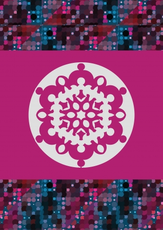 big snowflake on the pink and colorful halftone border Vector