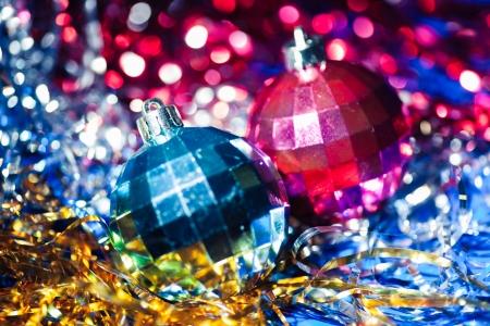 Christmas composition of two xmas balls photo