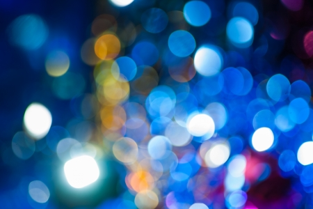 xmas blurred bokeh lights in blue colors photo