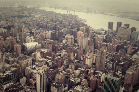 cross processed: Diagonal view with river of the NYC, from above, toned image