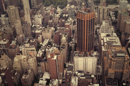 cross processed: NYC midtown view from above, a lot of skyscrapers Stock Photo