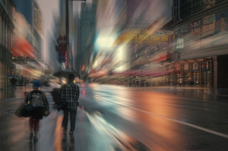 Blurred view of the NYC street in the morning morning under the rain