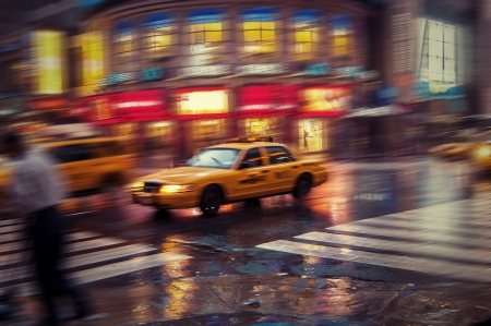 NYC taxi blurred image Stock Photo - 24453756