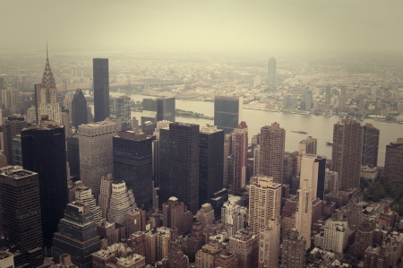 NYC skyline, view from above, cross processed image photo